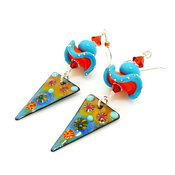 Blue and Orange Ruffle Mixed Metal Enameled Copper Earrings - product images  of