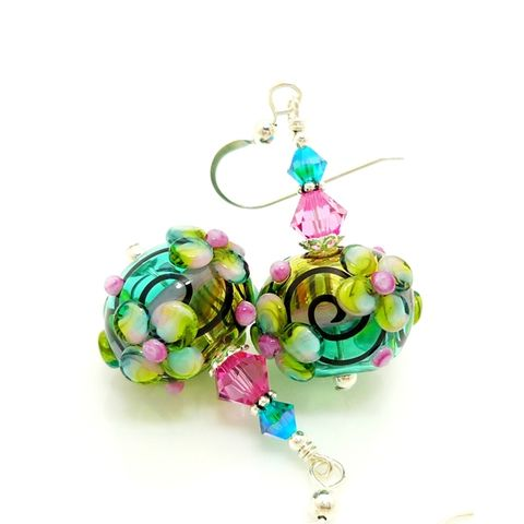 Floral,Scroll,Blown,Glass,Earrings,Handmade, Handcrafted, Earrings, Lampwork, Colorful, Hollow, Blown Glass, Lampwork Earrings, Beadwork Earrings, Glass Bead Earrings