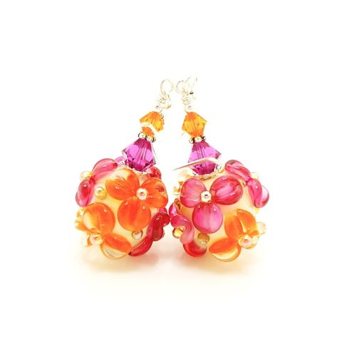Pink,and,Orange,Floral,Earrings,Handmade, Handcrafted, Lampwork, Glass, Earrings, Jewelry, Pink, Lampwork Earrings, Lampwork Glass Earrings, Handmade Lampwork Jewelry, Beadz and More, Handcrafted Bead Jewelry, Handmade Lampwork Earrings, Glass Beads Earrings