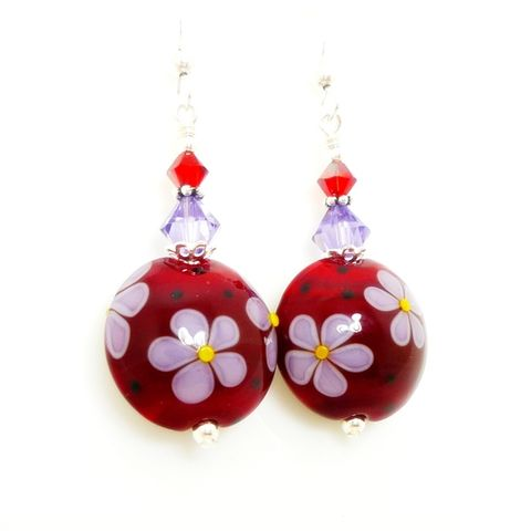 Red,and,Purple,Floral,Earrings,Handmade Lampwork Jewelry, Lampwork Earrings, Lampwork Glass Earrings, Glass Bead Earrings, Glass Bead Jewelry, Silver Silver Earrings, Food Earrings, Beadz and More, Red Earrings, Handmade Glass Earrings, Handmade Lampwork Glass Jewelry