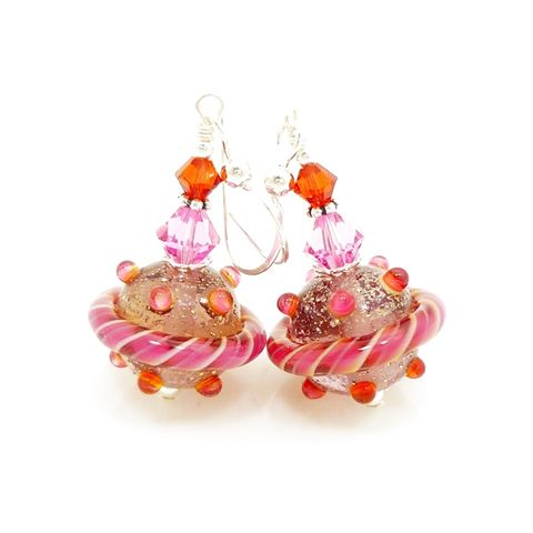 Pink,and,Orange,Glitter,Earrings,Handmade, Handcrafted, Lampwork, Glass, Earrings, Jewelry, Pink, Lampwork Earrings, Lampwork Glass Earrings, Handmade Lampwork Jewelry, Beadz and More, Handcrafted Bead Jewelry, Handmade Lampwork Earrings, Glass Beads Earrings