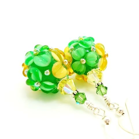 Green,and,Yellow,Floral,Earrings,Handmade, Handcrafted, Lampwork, Glass, Earrings, Jewelry, Pink, Lampwork Earrings, Lampwork Glass Earrings, Handmade Lampwork Jewelry, Beadz and More, Handcrafted Bead Jewelry, Handmade Lampwork Earrings, Glass Beads Earrings