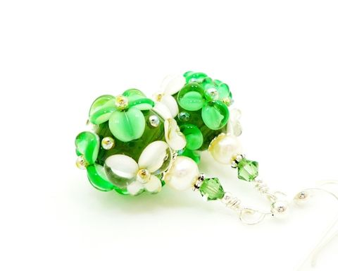 Green,and,White,Floral,Earrings,Handmade, Handcrafted, Lampwork, Glass, Earrings, Jewelry, Green, Lampwork Earrings, Lampwork Glass Earrings, Handmade Lampwork Jewelry, Beadz and More, Handcrafted Bead Jewelry, Handmade Lampwork Earrings, Glass Beads Earrings