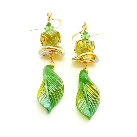 Jade,Green,Leaf,Ruffle,Scroll,Earrings,Handmade, Handcrafted, Lampwork, Glass, Earrings, Jewelry, Leaf, Leaves, Fall, Autumn, Lampwork Earrings, Lampwork Glass Earrings, Handmade Lampwork Jewelry, Beadz and More, Green Earrings