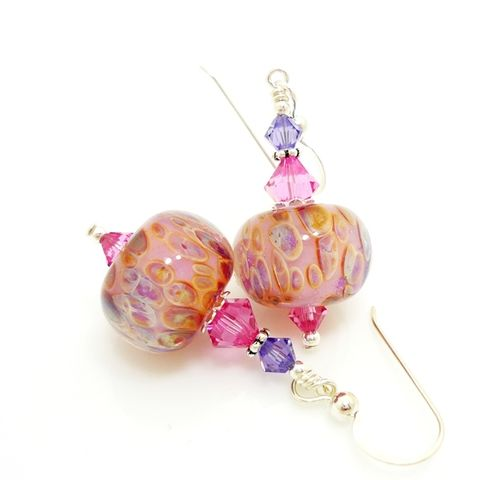 Pink,Opal,Purple,Boro,Glass,Earrings,Handmade Earrings, Lampwork Earrings, Glass Earrings, Lampwork Jewelry, Blue Purple Earrings, Boro Glass Earrings, Sterling Silver, Beadz and More, Colorful, Glass Beads Jewelry