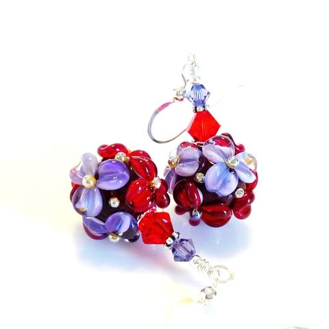 Red,and,Purple,Floral,Earrings,Handmade, Handcrafted, Lampwork, Glass, Earrings, Jewelry, Pink, Lampwork Earrings, Lampwork Glass Earrings, Handmade Lampwork Jewelry, Beadz and More, Handcrafted Bead Jewelry, Handmade Lampwork Earrings, Glass Beads Earrings