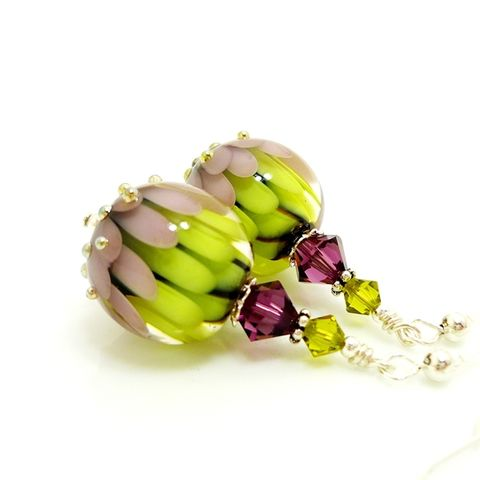 Purple,and,Green,Lotus,Flower,Earrings,Handmade, Handcrafted, Lampwork, Glass, Earrings, Jewelry, Lampwork Earrings, Lampwork Glass Earrings, Handmade Lampwork Jewelry, Beadz and More, Handcrafted Bead Jewelry, Handmade Lampwork Earrings, Glass Beads Earrings