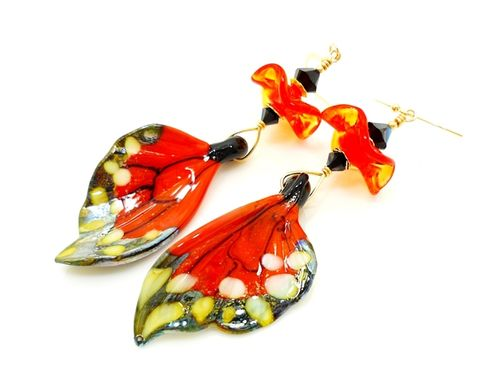Orange,Monarch,Butterfly,Wing,Earrings,Handmade, Handcrafted, Lampwork, Glass, Earrings, Jewelry, Monarch Butterfly, Butterfly Wings, Lampwork Earrings, Lampwork Glass Earrings, Handmade Lampwork Jewelry, Butterfly Wing Earrings, Butterfly Jewelry, Beadz and More, Animal Earrings