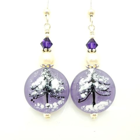 Purple,Evening,Snow,Silhouette,Heart,Earrings,Handmade, Handcrafted, Lampwork, Glass, Earrings, Jewelry, Heart, Lampwork Earrings, Lampwork Glass Earrings, Handmade Lampwork Jewelry, Beadz and More, Handcrafted Bead Jewelry, Handmade Lampwork Earrings, Glass Beads Earrings, Tree Earrings