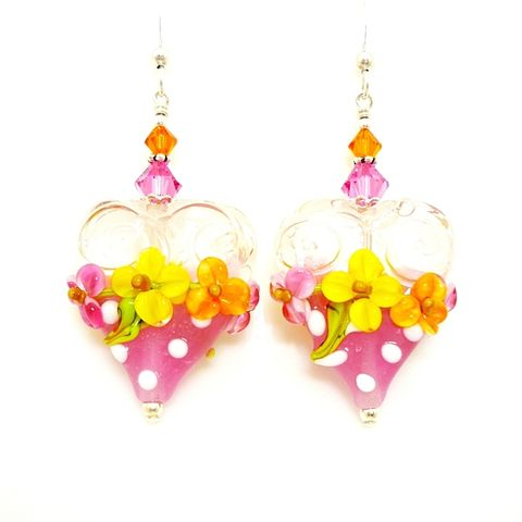 Pink,Floral,Heart,Earrings,Handmade, Handcrafted, Lampwork, Glass, Earrings, Jewelry, Chocolate Candy Earrings, Lampwork Earrings, Lampwork Glass Earrings, Handmade Lampwork Jewelry, Beadz and More, Handcrafted Bead Jewelry, Handmade Lampwork Earrings, Glass Beads Earrings, Floral