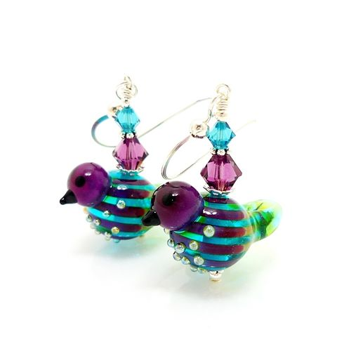 Purple,and,Blue,Striped,Bird,Earrings,Handmade, Handcrafted, Lampwork, Glass, Earrings, Jewelry, Lampwork Earrings, Lampwork Glass Earrings, Handmade Lampwork Jewelry, Beadz and More, Handcrafted Bead Jewelry, Handmade Lampwork Earrings, Glass Beads Earrings, Purple Earrings, Square Earrings
