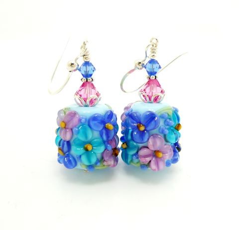 Blue,Floral,Chunky,Barrel,Earrings,Handmade, Handcrafted, Lampwork, Glass, Earrings, Jewelry, Lampwork Earrings, Lampwork Glass Earrings, Handmade Lampwork Jewelry, Beadz and More, Handcrafted Bead Jewelry, Handmade Lampwork Earrings, Glass Beads Earrings