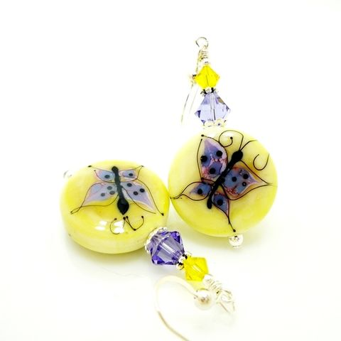Yellow,Silhouette,Butterfly,Earrings