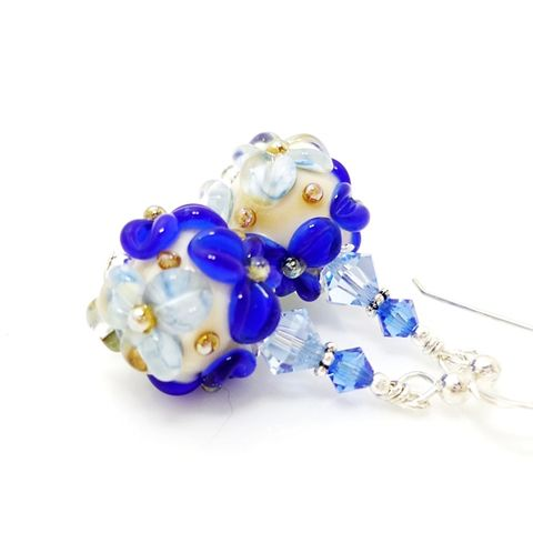 Blue,Floral,Earrings,Handmade, Handcrafted, Lampwork, Glass, Earrings, Jewelry, Lampwork Earrings, Lampwork Glass Earrings, Handmade Lampwork Jewelry, Beadz and More, Handcrafted Bead Jewelry, Handmade Lampwork Earrings, Glass Beads Earrings
