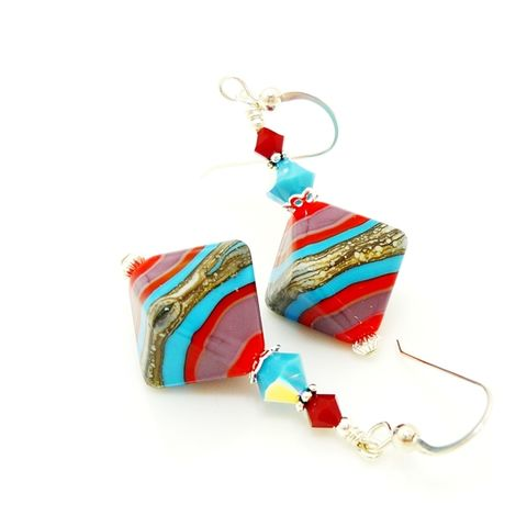 Red,Turquoise,Purple,Crystal,Shaped,Earrings,Handmade Earrings, Lampwork Earrings, Glass Earrings, Glass Bead Earrings, Beadwork Earrings, Purple Earrings, Unique, Glass Art Earrings, Beadz and More, Sterling Silver