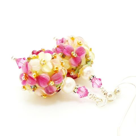 Pink,Floral,Earrings,Handmade, Handcrafted, Lampwork, Glass, Earrings, Jewelry, Lampwork Earrings, Lampwork Glass Earrings, Handmade Lampwork Jewelry, Beadz and More, Handcrafted Bead Jewelry, Handmade Lampwork Earrings, Glass Beads Earrings