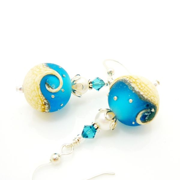 Blue Ocean Wave Pearl Earrings - product images  of