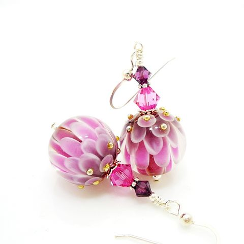 Pink,and,Purple,Lotus,Flower,Earrings,Handmade, Handcrafted, Lampwork, Glass, Earrings, Jewelry, Lampwork Earrings, Lampwork Glass Earrings, Handmade Lampwork Jewelry, Beadz and More, Handcrafted Bead Jewelry, Handmade Lampwork Earrings, Glass Beads Earrings, Tree Earrings
