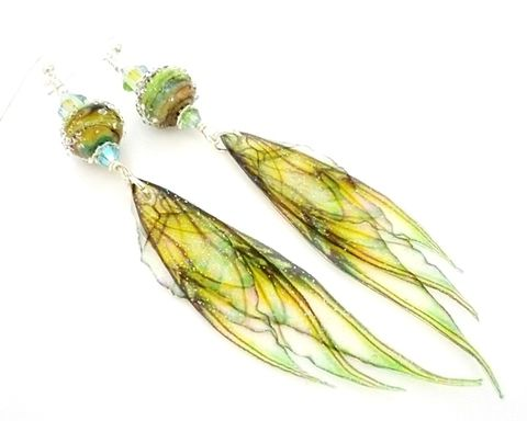 Green,Fairy,Wing,Earrings,Handmade, Handcrafted, Lampwork, Glass, Earrings, Jewelry, Lampwork Earrings, Lampwork Glass Earrings, Handmade Lampwork Jewelry, Beadz and More, Handcrafted Bead Jewelry, Handmade Lampwork Earrings, Glass Beads Earrings
