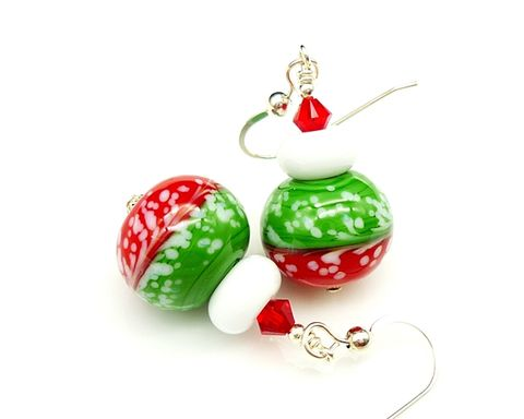 Red,Green,Festive,Christmas,Earrings
