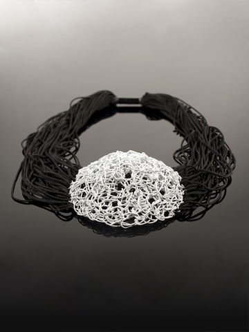 Necklace,from,Yuki,collection,necklace, wire, interlacin, colored, jewellery, steel, cotton