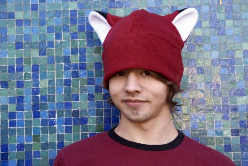 Animal Hat - Dark Red Fleece Fox Hat - product image