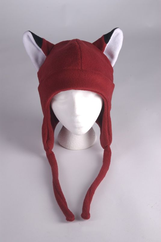 Fox Hat - Dark Red Fleece Earflap Aviator Hat - product image