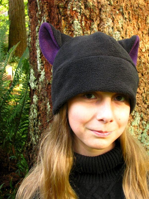 Fleece Kitty Cat Hat - Black   Aubergine Eggplant Purple Cat Ear Hat -  product image 6542b65c2b10