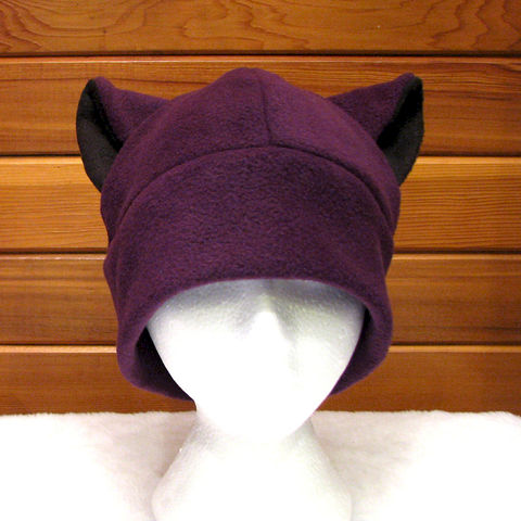 Cat,Ear,Hat,-,Eggplant,Aubergine,Purple,Accessories,Beanie,cat_hat,cat_ears,animal_hat,purple,eggplant,aubergine,womens_hat,black,winter_hat,neko,neko_hat,rave_hat,cat_ear_hat,fleece