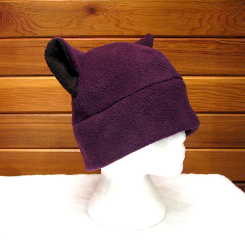 Cat Ear Hat - Eggplant Aubergine Purple - product image