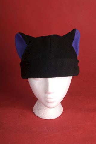 Kitty,Cat,Fleece,Hat,in,Black,/,Purple,Accessories,Animal,snow,kitty_cat,black,purple,cosplay,ski,goth,beanie,skullcap,animal_fleece_hat,mens_hat,womens_hat,rave_hat,fleece