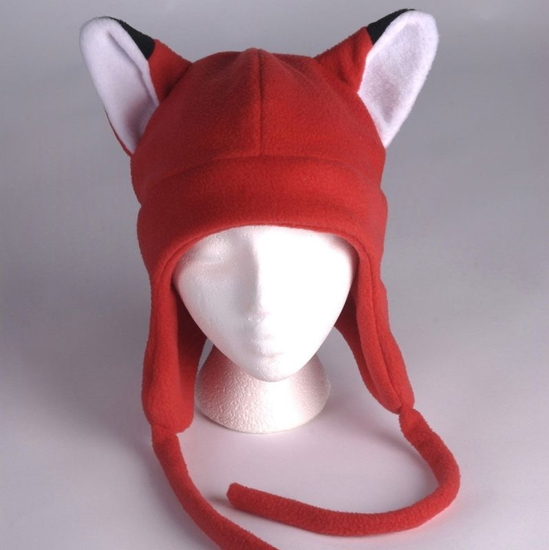 Fleece Fox Hat - Red Aviator Style Fox Ear Hat - product image