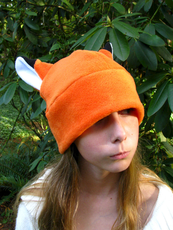 Fox Hat - Orange Fleece Fox Ear Naruto Style - product image