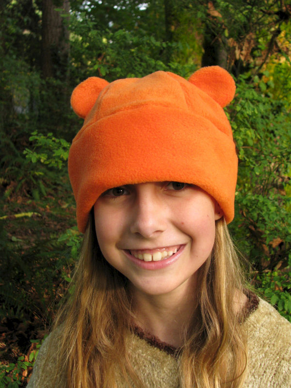 Orange Gummy Bear Ear Hat - Animal Fleece Hat - product image