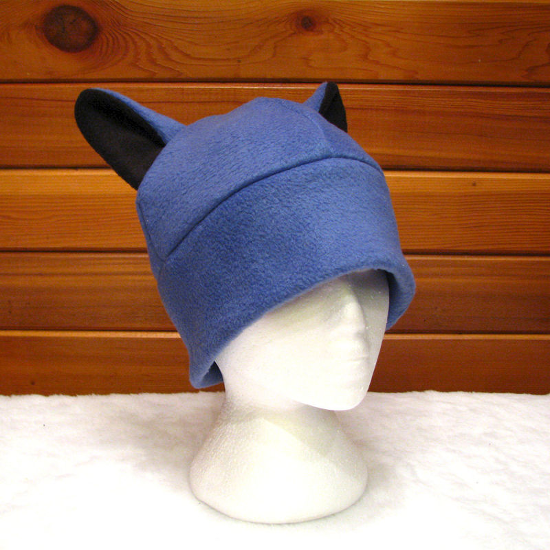 Wolf Hat - Animal Ear Hat Slate Blue Fleece - product image