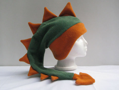Green,Dinosaur,with,Orange,Spikes,Fleece,Hat,Accessories,Animal,dinosaur_hat,dragon_hat,green,orange,fleece_hat,boys_hat,mens_hat,ear_flap,winter_hat,spike_hat,crazy_hat,animal_hat,ski_hat,fleece