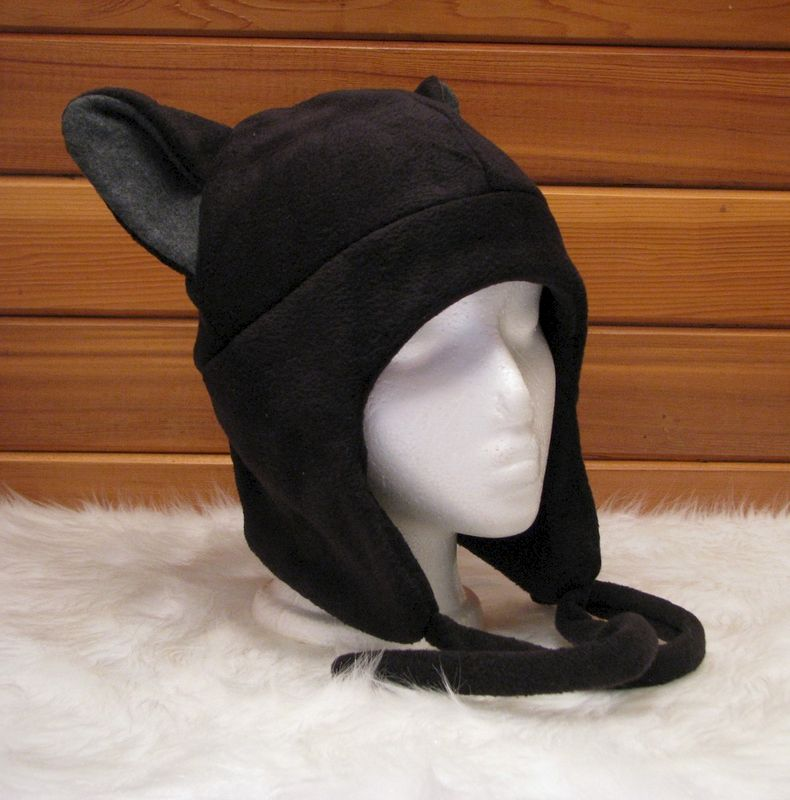 Cat Ear Hat  - Black / Grey Fleece Kitty Ear Flap Aviator - product image