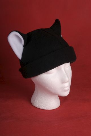 Fleece,Kitty,Cat,Hat,-,Black,/,White,Accessories,Animal,women,warm,beanie,black,white,kitty_cat,anime,neko,winter,men,cosplay,children,kitty_ear_hat,fleece