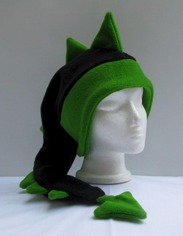 dragon hat - black    green fleece