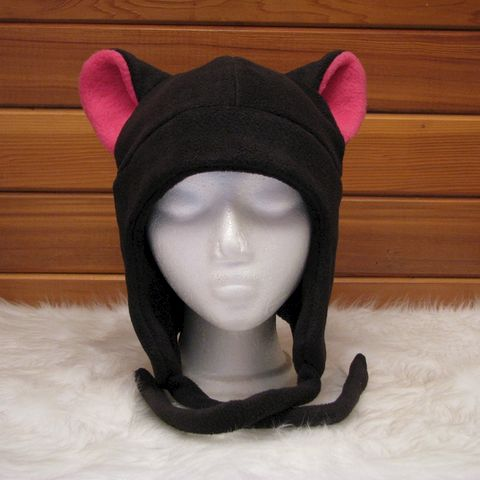 Black,/,Pink,Fleece,Cat,Ear,Aviator,Flap,Style,Accessories,Hat,Animal,black,earflap,cosplay,goth,pink,kitty_cat,neko,cat_hat,kitty_hat,neko_hat,anime_hat,womens_hat,cat_ears,fleece