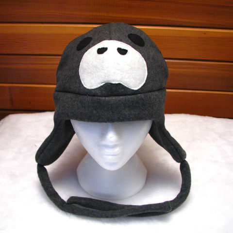 Manatee,Hat,-,Dark,Gray,Fleece,Trapper,Accessories,Animal,manatee,manatee_hat,fleece_hat,trapper_hat,ear_flap_hat,mens,grey,gray,womens,winter_hat,fun_hat,animal_hat,sea_animal_hat,fleece