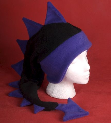 Dragon,Hat,-,Black,/,Purple,Fleece,Ear,Flap,Accessories,Animal,ear_flap,black,purple,dragon,dinosaur,mohawk,ski,winter,fleece,men,rave_hat,anime_hat,fleece_hat