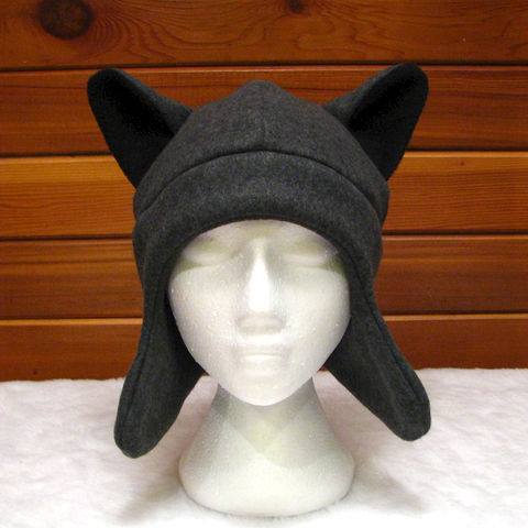 Gray,Wolf,Ear,Hat,-,Dark,Grey,Fleece,Animal,with,Flaps,Accessories,animal_hat,wolf_hat,werewolf,wolf_ears,fleece_hat,ear_flaps,anime_hat,aviator_hat,trapper_animal_hat,teen_wolf,mens_hat,womens_hat,teen_hat,fleece