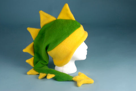 Fleece,Dragon,Hat,-,Lime,Green,/,Yellow,Accessories,Animal,ear_flap,dragon,children,lime_green,kawaii,dinosaur_hat,dragon_hat,yellow,Halloween_costume,boys_hat,mens_hat,mohawk_hat,winter_hat,fleece