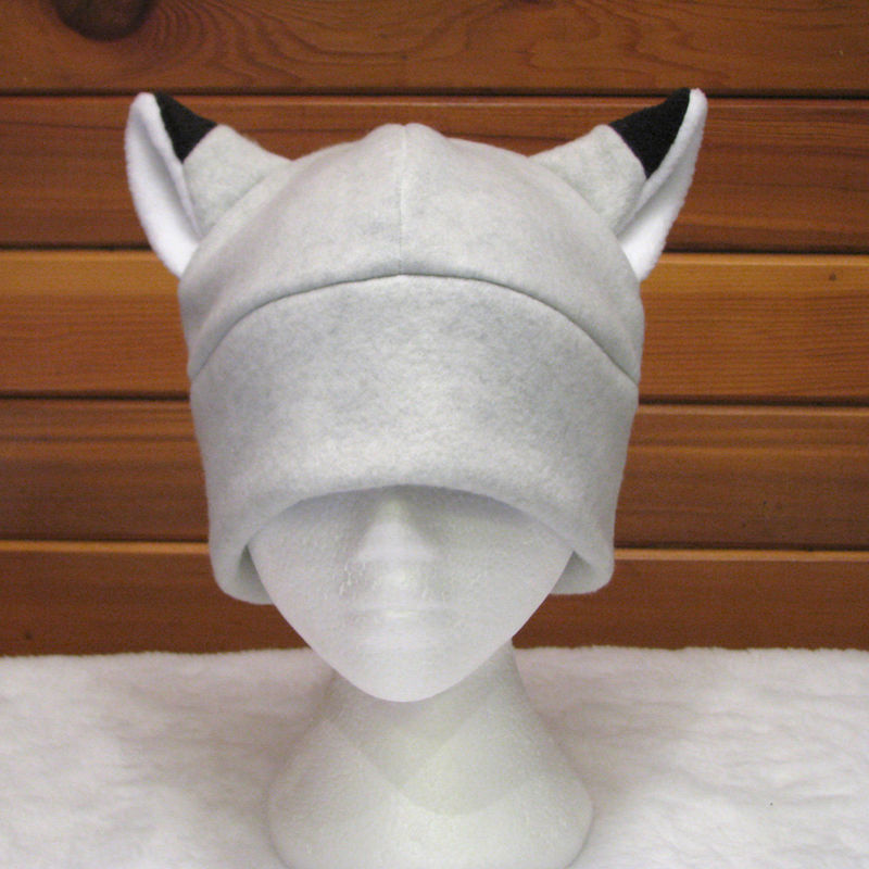 Silver Fox Ear Hat - Light Gray Fleece Fox Hat - product image