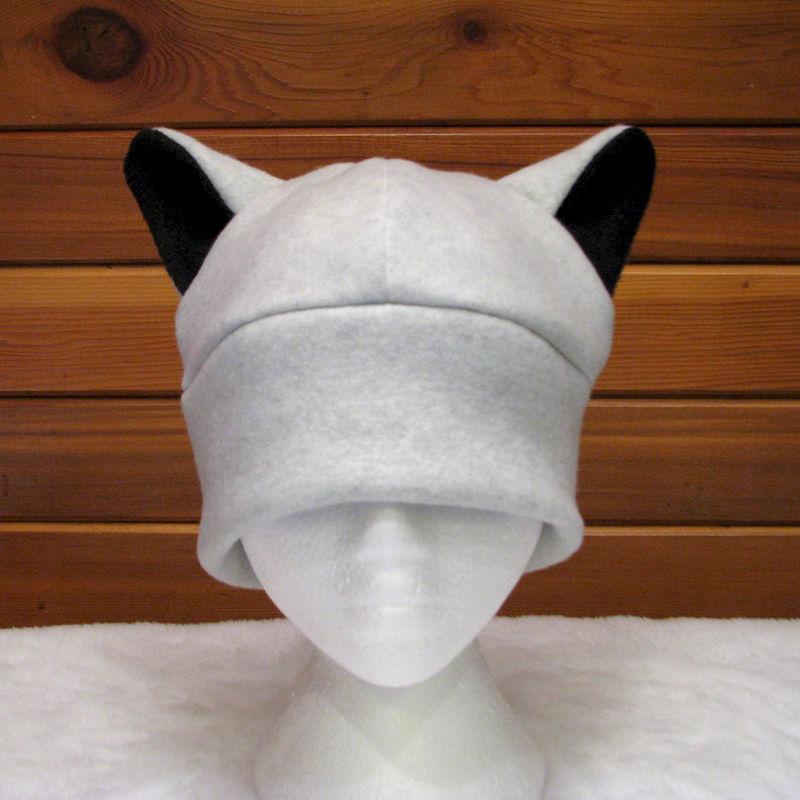 silver wolf ear hat light gray fleece animal hat product image