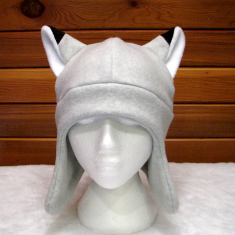 Silver,Fox,Ear,Hat,-,Light,Gray,Animal,Fleece,with,Flaps,Accessories,silver_fox,fox_hat,fox_ears,grey,gray,fleece,animal_hat,fleece_hat,rave_hat,winter_hat,ear_flap,mens_hat,womens_hat