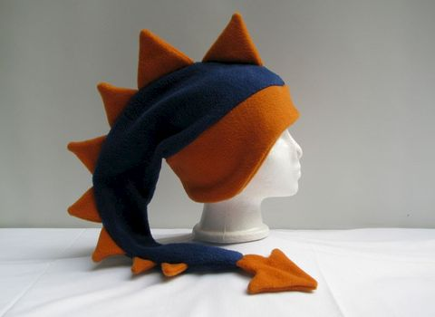 Dragon,Hat,-,Denim,Blue,/,Orange,Fleece,Accessories,Ear_Flap,dragon,spike,monster_hat,mens_hat,childrens_hat,snow_hat,warm_hat,animal_hat,spike_hat,dinosaur_hat,dragon_hat,stocking_hat,halloween_hat,fleece