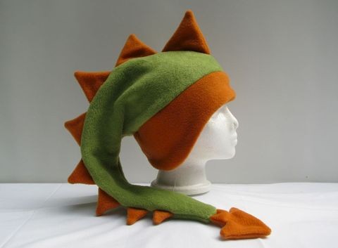 Dragon,Hat,-,Green,/,Orange,Fleece,Accessories,Animal,ear_flap,dragon,dinosaur,green,orange,fleece,children,winter,mohawk,dragon_hat,Halloween,mens_hat,animal_hat
