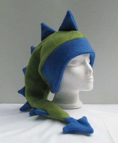 Fleece,Dragon,Hat,-,Sage,Green,/,Royal,Blue,Accessories,Animal,ear_flap,dragon,dinosaur,green,mohawk,royal_blue,cosplay,fantasy,winter_hat,mens_hat,womens_hat,Fleece_hat,Animal_hat,fleece